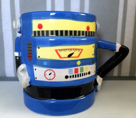 Ceramic Robot Man Hand Painted Large Mug - Bright Blue